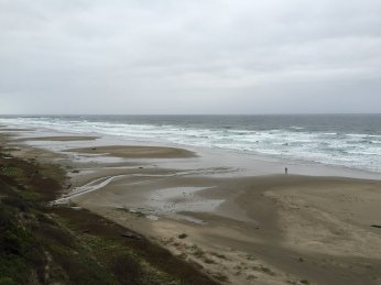 Rainy day. View of the beach from our room in Elizabeth Street Inn, Newport, Oregon