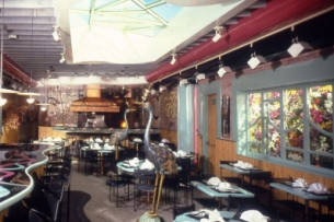 Interior of the Chinois Restaurant co-owned and designed by Barbara Lazaroff