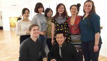 At the ArtBar Gallery, Kingston NY (1st row L to R): Reed Fagan and Hongyoun Kim;(2nd row L to R): Hyein Cho, Masa Cong, Sihui Zhang, Lydia Martin, Emma Chandler, and Brooke Breckner