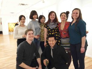 At the ArtBar Gallery, Kingston NY (1st row L to R): Reed Fagan and Hongyoun Kim;(2nd row L to R): Hyein Cho, Masa Cong, Sihui Zhang, Lydia Martin, Emma Chandler, and Brooke Breckner