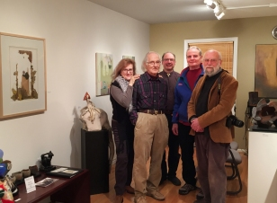 At the Albert Shahinian Fine Art Gallery Albert Shahinian (center) and artists ((L to R) Madeleine Segall-Marx, Richard Marx, Travis Jeffrey and Dick Crenson