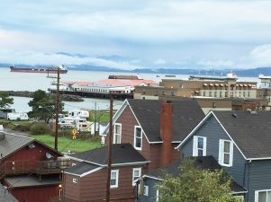 Tankers in the background seen from B&B in Astoria Oregon
