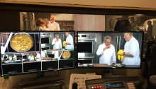 Filming one of the segments for the Wolfgang Puck Cooking School
