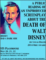 Poster for Death of Walt Disny at the Shandaken Theater, Phoenicia, NY