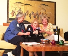(L to R) Cornelia, Muriel and Heidi — our farewell for now toast