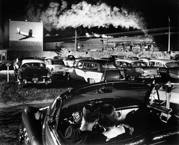 Hotshot Eastbound (1956), taken at the drive-in theater in Iaeger, West Virginia, was used in Link's book Steam, Steel & Stars. This is one of Link's best-known photographs