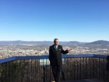 David A. Bowers Mayor of Roanoke, Virginia speaking with a group of journalists at the Roanoke Star and Overlook