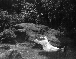 Ted Shawn on the Pillow Rock ca. 1947 (photo: Eric Sanford from the Pillow's archives)