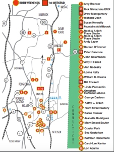 Map showing participating artists' studios and creative workspaces in the ArtEast open studio tour in the Hudson Valley's Dutchess County
