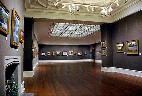 View of Grand Gallery at Salmagundi Club, NYC