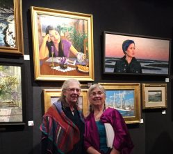"Cornelia Seckel & Donna Catotti standing below Donna's painting ""Dream Studies."" at the CLWAC benefit reception."