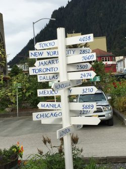 Signposts in downtown Juneau, Alaska