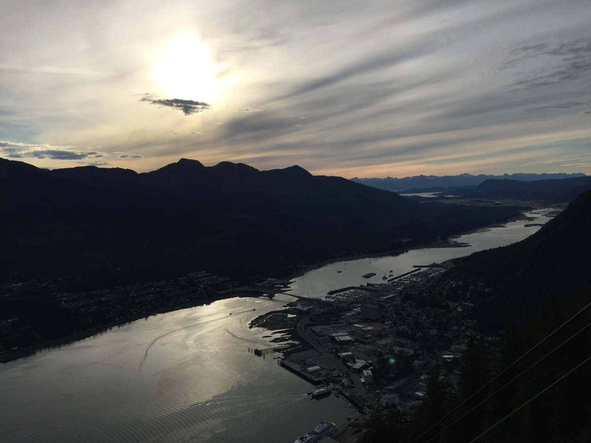 View of Gastineau Channel, Douglas Island and Silver Bow Basin from top of Mt Roberts, Juneau Alaska