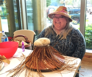 Della Cheney is a Tlingit & Haida artist. I met her at Sealaska Heritage where she was giving a demonstration of weaving traditional hats. She is a delightful woman who teaches weaving, writes and gives talks about the Native American experience and culture.