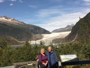 Donna Catotti and Cornelia Seckel at the overlook at Mendenhall Glacier Juneau, AK
