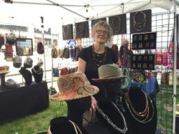 Dede Lifgren, a fine artist and hand crafter and her sister Lisa Lifgren Drummond created Capuchinz and with fabric and tapestry combinations create hats and jewelry.